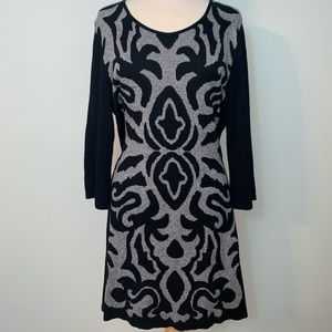 3/4 sleeve black and grey sweater dress